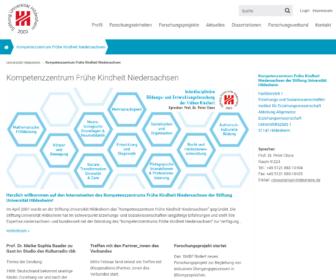 Screenshot der Projektseite der Uni Hildesheim (Mai 2018)
